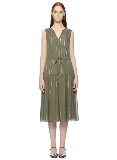 Gold Şeritli V Yaka Midi Elbise-Joie